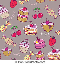 Seamless pattern with sweets.