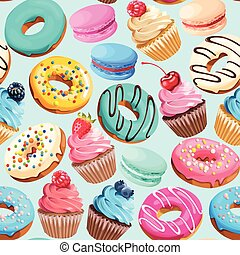 Seamless pattern with sweets - Sweet macarons, cupcakes and...