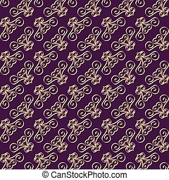 Seamless pattern with swirls on the diagonal. Ornate decorated with purple and gold ornaments.