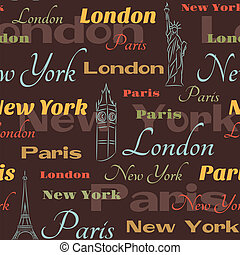 Seamless pattern with symbols of cities - Retro seamless...