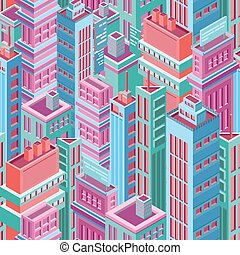 Seamless pattern with tall isometric city buildings,...
