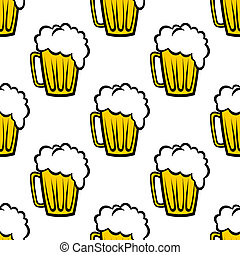 Seamless pattern with tankards of frothy beer