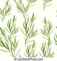Seamless pattern with tarragon leaves. Botanical ...