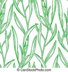 Seamless pattern with tarragon. Summer or spring background...