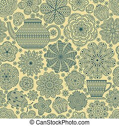 Seamless pattern with teapot, cup,
