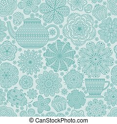 Seamless pattern with teapot, cup