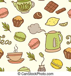 Seamless pattern with teapot