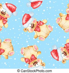 Seamless pattern with Teddy Bear 3
