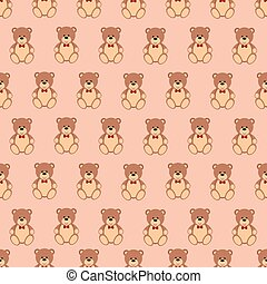Seamless pattern with Teddy bear, flat design