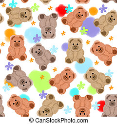 Seamless pattern with teddy bears and flowers
