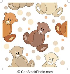Seamless pattern with teddy bears on white