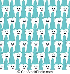 Seamless pattern with teeth on the light blue background.