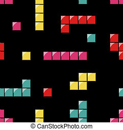 seamless pattern with white, red, orange, yellow and green tetris elements on the background