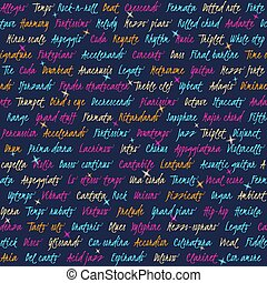 Seamless pattern with text about music