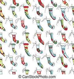Seamless pattern with textile Santa socks on white. - ...