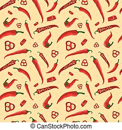 Seamless pattern with the ilustration of chili peppers