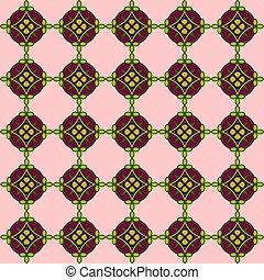 Seamless pattern with the image of a mosaic ornament on a pink background
