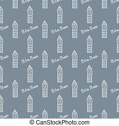 Seamless pattern with the image of Big Ben.