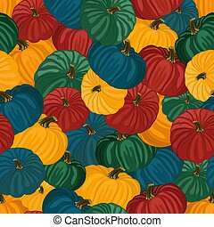 Seamless pattern with the image of colorful pumpkins