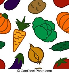 Seamless pattern with the image of different vegetables in a flat style
