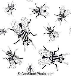 Seamless pattern with the image of flies