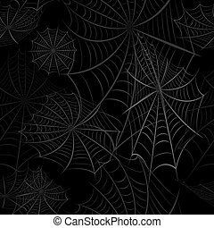 Seamless pattern with the image of the spider web on a black background. Happy Halloween