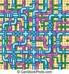 Seamless pattern with the image of valves, and interlacing of pipes.