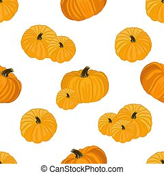 Seamless pattern with the image of yellow pumpkins