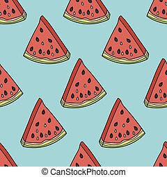Seamless pattern with the slices of watermelon.