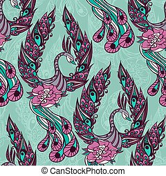 Seamless pattern with the swans.