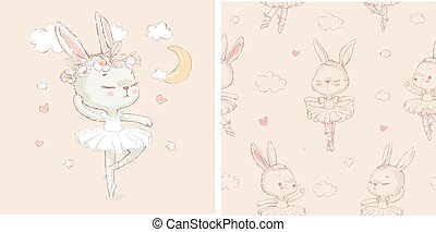 Seamless pattern with the sweet dancing cartoon ballerina bunny. Hand drawn vector illustration. Can be used for baby t-shirt print, kids fashion design, baby shower card.