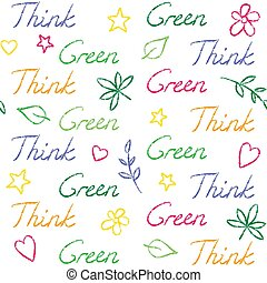 Seamless pattern with Think Green text