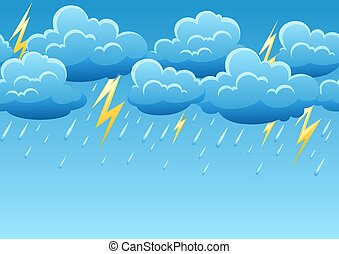 Seamless pattern with thunderstorm. Cartoon illustration of...