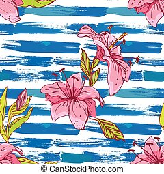 Seamless pattern with tiger lilies flowers on the striped grunge blue and white nautical background.Background for summer design