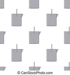 Seamless pattern with tin metal iron bucket empty or with water on white background. Cartoon style. Vector illustration for design, web, wrapping paper, fabric, wallpaper.