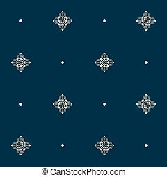 Seamless pattern with tiny knot signs and pearls. Vector...