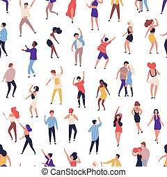 Seamless pattern with tiny people dancing on dance floor at night club on white background. Backdrop with happy of men and women having fun at party. Flat vector illustration for wrapping paper.