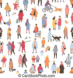 Seamless pattern with tiny people dressed in outerwear...