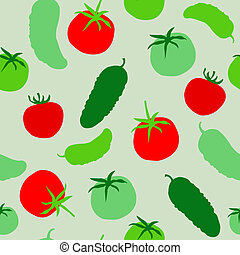 Seamless pattern with tomatoes and cucumbers