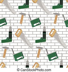 Seamless pattern with tools for construction