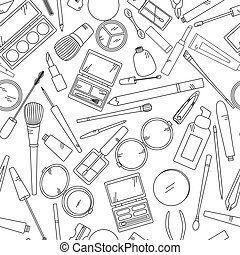 Seamless Pattern With Tools For Makeup In Black And White Colors