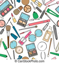 Seamless pattern with tools for makeup in bright colors.