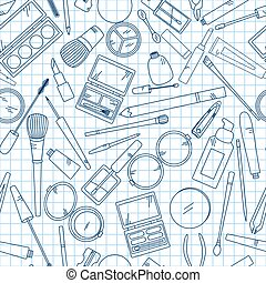 Seamless pattern with tools for makeup on notebook.