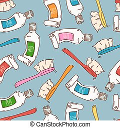 Seamless pattern with tooth paste and brushes