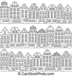 Seamless pattern with townhouses in european style. Hand drawn houses