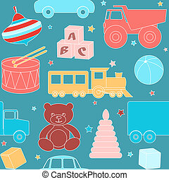 Seamless pattern with toys