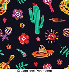 Seamless pattern with traditional Mexican symbols on black background - sombrero, guitar, cactus, maracas, chili pepper. Flat cartoon vector illustration for wrapping paper, textile print, wallpaper.
