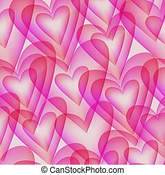 Seamless pattern with transparent elements in the form of hearts
