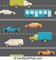 Seamless pattern with transport on the road