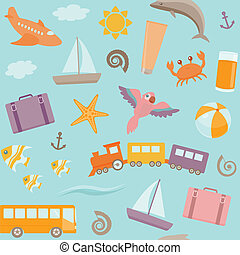 Seamless pattern with travel symbols